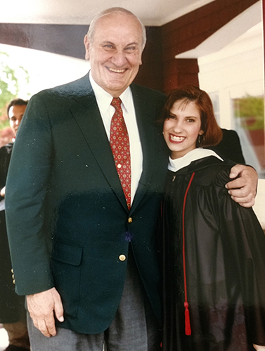 Holly Beretto '93 with former President Walter Peterson
